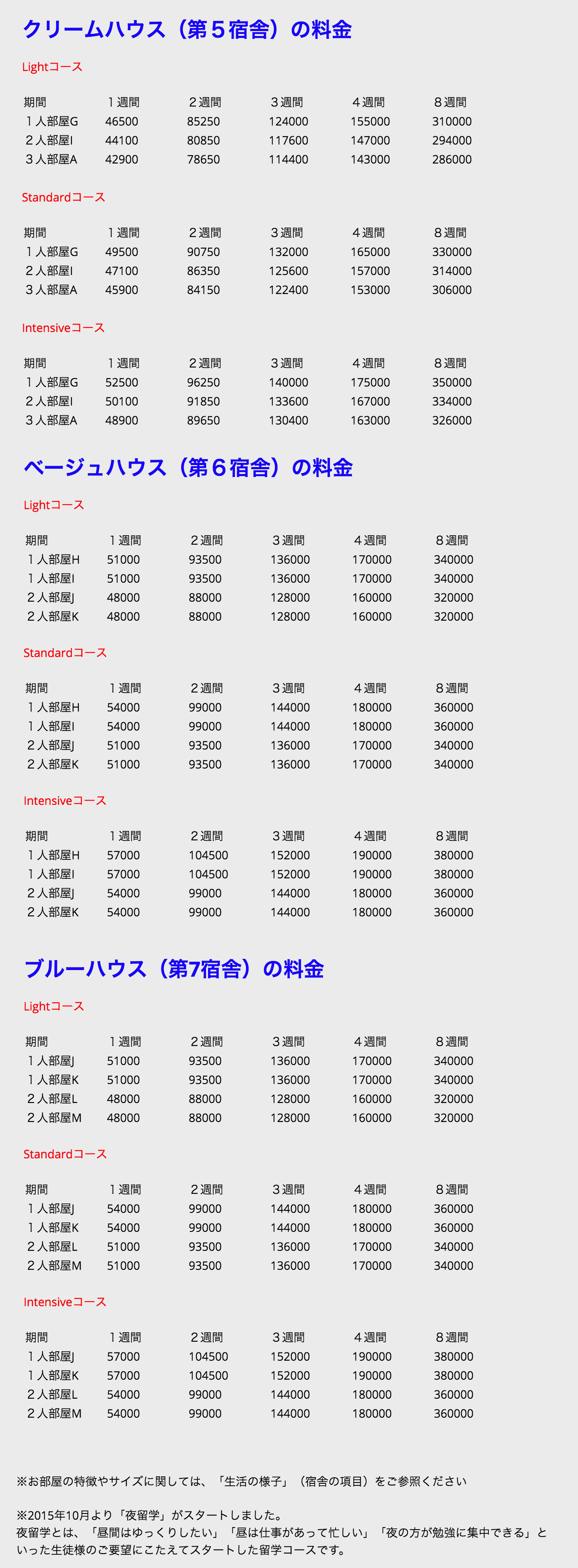 Face to Face 料金表2